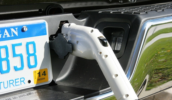 Plug-in Hybrid Electric Vehicle Being Charged
