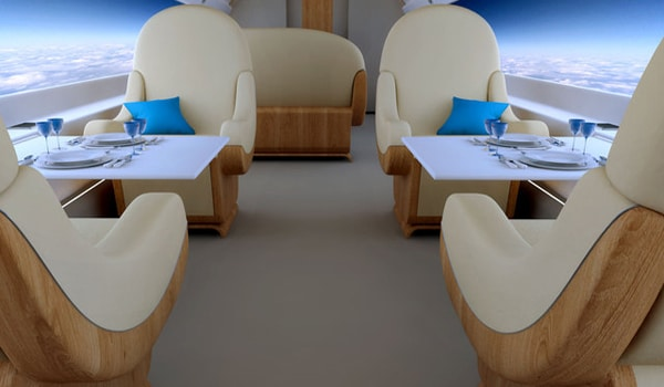 Windowless Jet with Giant Screens