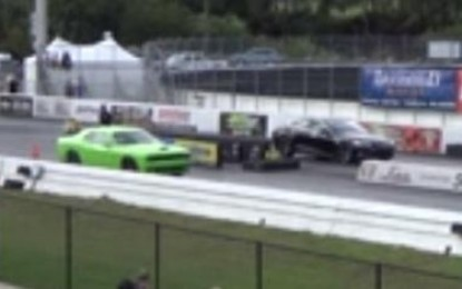 Tesla Model S P85D Goes Heads Up Against 2015 Dodge Challenger Hellcat (Video)