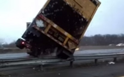 Truck Skids and Collides on the New Jersey Turnpike (Video)