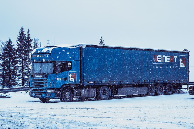 winter semi truck