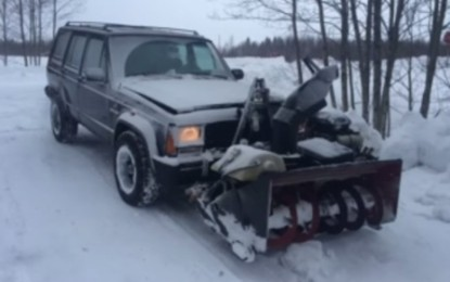 Snowblower Strapped to Jeep Attempts to Clear the Snow (Video)